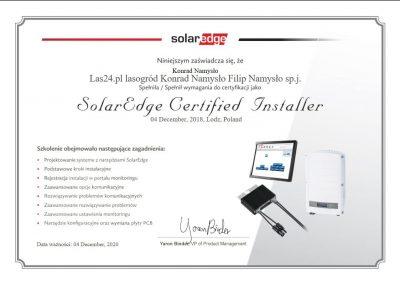 SolarEdge-Certyfikat