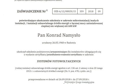 Certyfikat - Zaświadczenie Ukończenia Szkolenie FW PAN